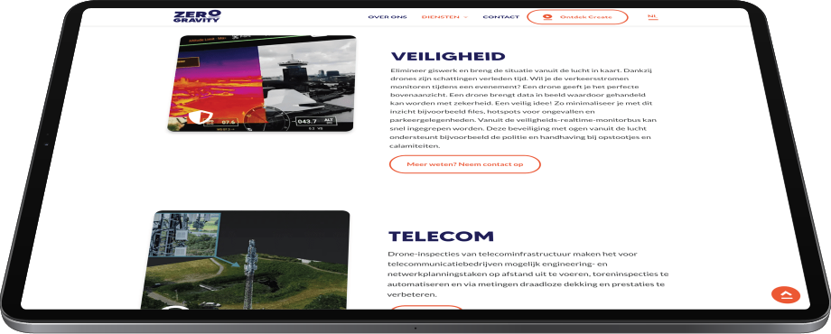 Maatwerk Webdevelopment voor Zero Gravity ipad
