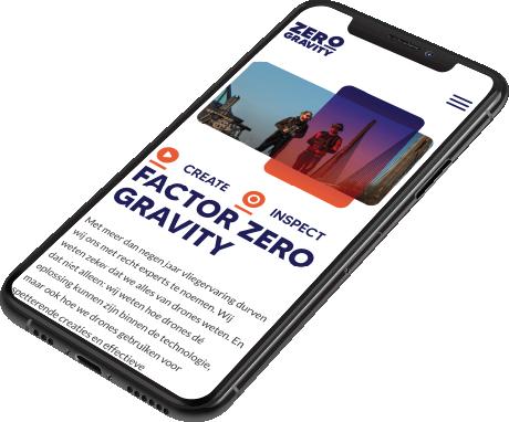 Maatwerk Webdevelopment voor Zero Gravity iphone
