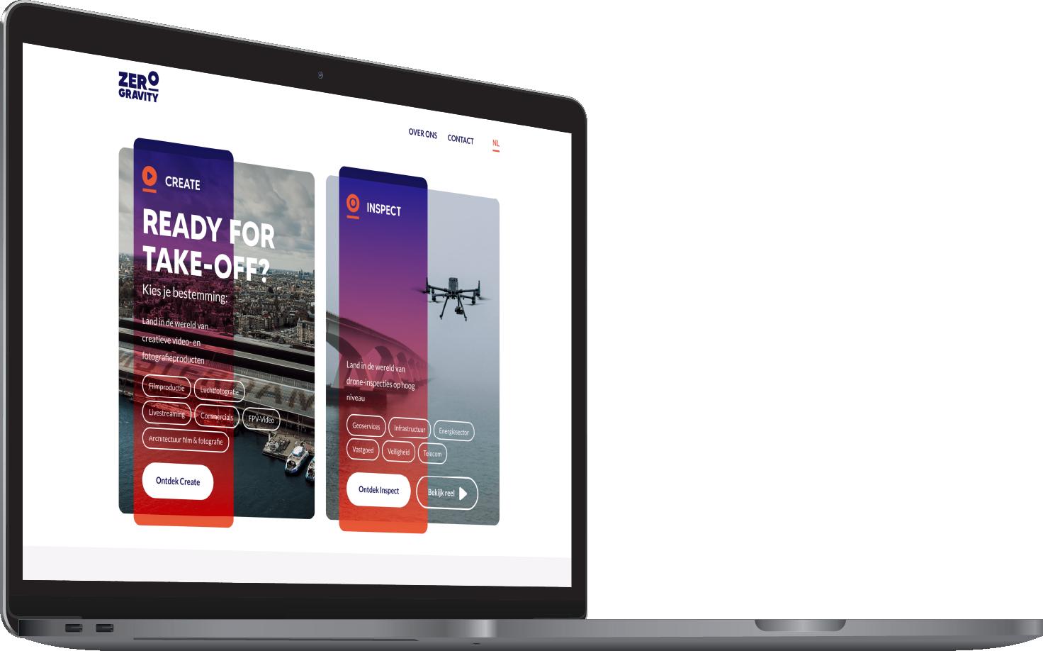 Maatwerk Webdevelopment voor Zero Gravity macbook