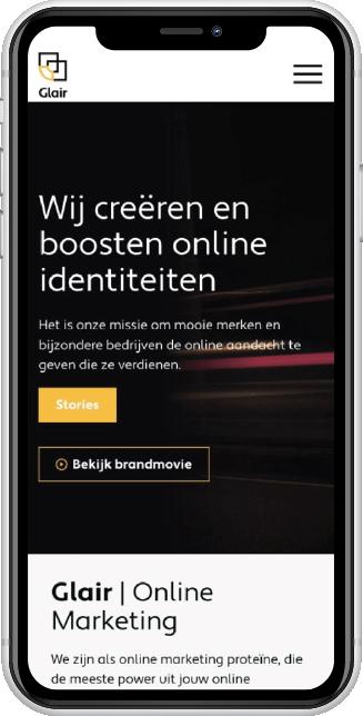 Website Glair mobiel